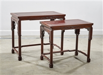 Two Chinese Hard Wood Nesting Tables