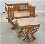 Asian Carved Teak Wood Throne-Like Chair and Stool