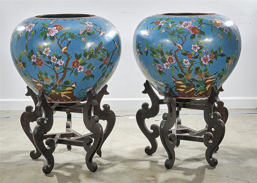 Pair Large Chinese Cloisonne Jars