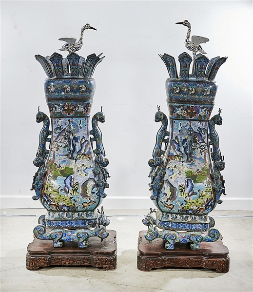 Pair Tall Chinese Cloisonne Covered Hu
