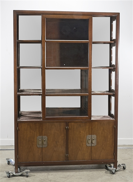 Tall Chinese Wood and Glass Cabinet