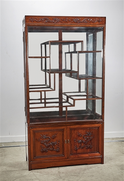 Large Chinese Glass Front Mirrored Curio Cabinet