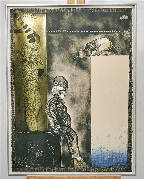 Mixed-Media Lithograph by Jose Luis Cuevas