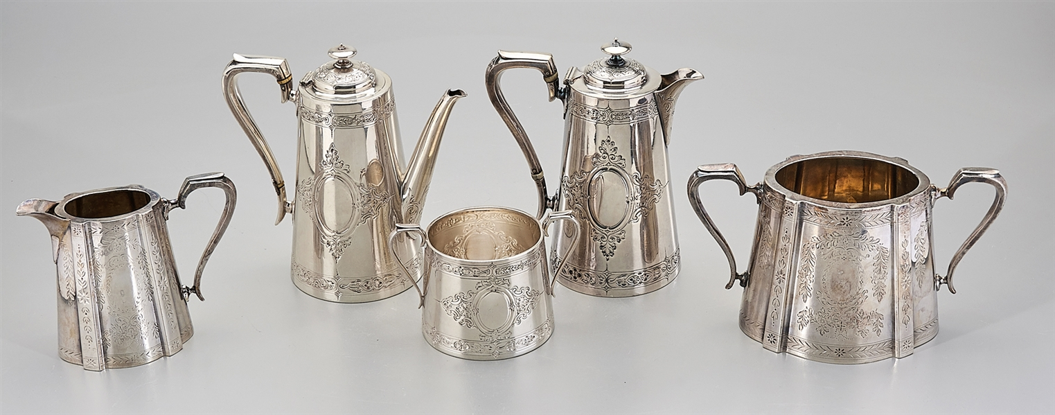 Group of Five Silver Plate Tea Service Pieces