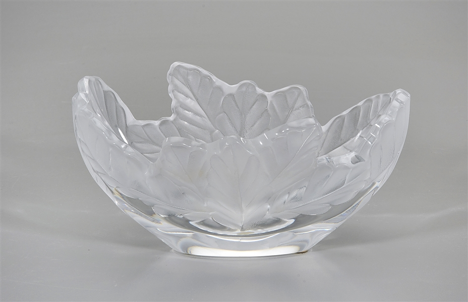 Lalique Glass Leaf Dish