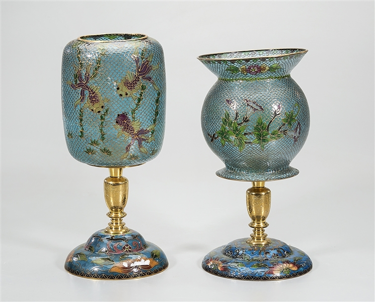 Two Chinese Cloisonne Metal and Glass Lanterns