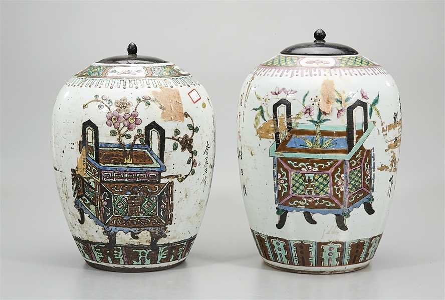 Two Chinese Enamel Painted Porcelain Ginger Jars