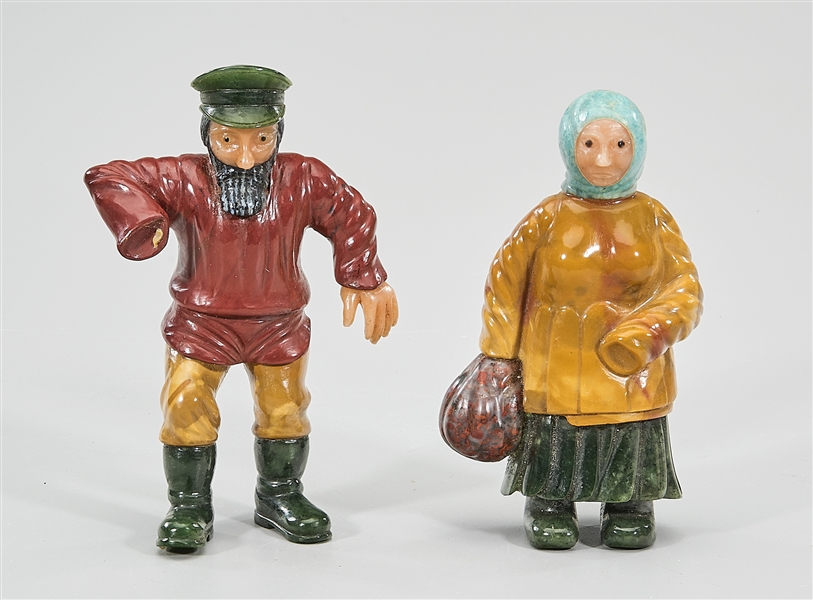 Two Old Faberge-Style Russian Hardstone Figures