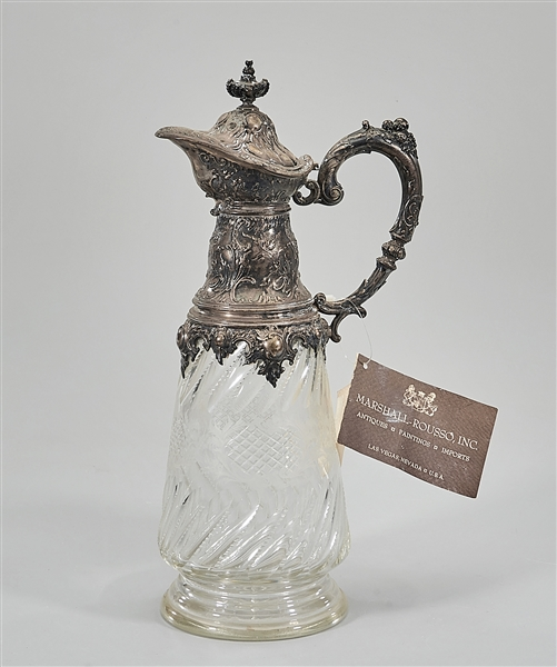 Antique Silver Overlay Cut Glass Claret Jug