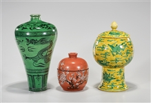 Three Various Chinese Glazed Porcelains