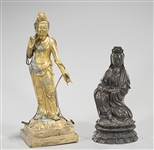 Two Chinese Metal Guanyin Figures
