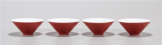 Set of Four Chinese Red Crackle Glazed Conical Bowls