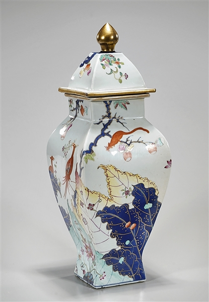 Chinese Enameled Porcelain Four-Faceted Covered Vase