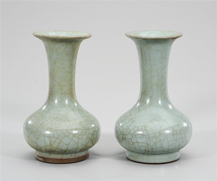 Pair of Chinese Crackle Glazed Porcelain Vases