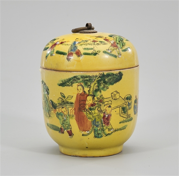 Chinese Enameled Porcelain Covered Jar
