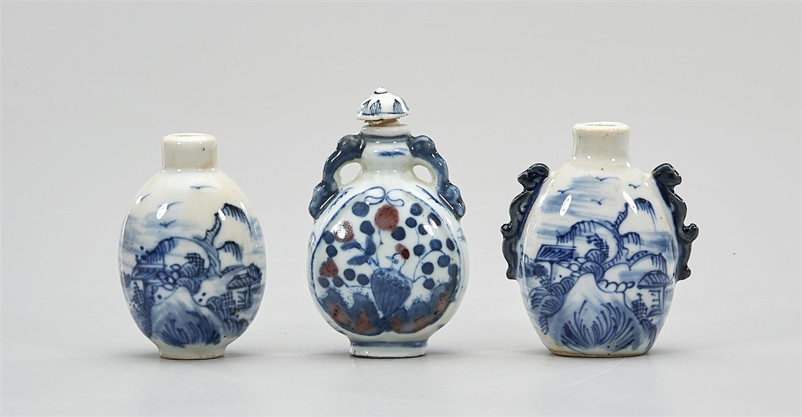 Group of Three Chinese Porcelain Snuff Bottles
