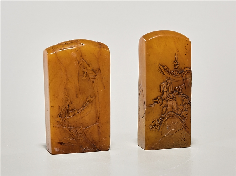 Two Chinese Carved Shoushan Seals