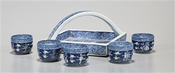 Japanese Blue and White Porcelain Tea Cup Set