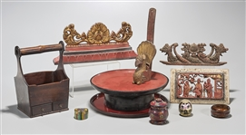 Group of Various Japanese Wood and Lacquered Pieces