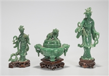 Group of Three Chinese Carved Aventurine Quartz