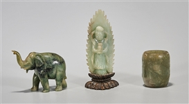 Group of Three Antique Chinese Carved Jadeites