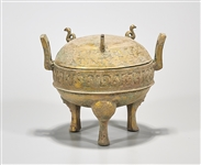 Chinese Archaistic Bronze Covered Tripod Vessel