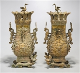 Pair Chinese Archaistic Bronze Covered Vases