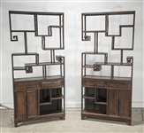Pair Chinese Curio Shelf Cabinets