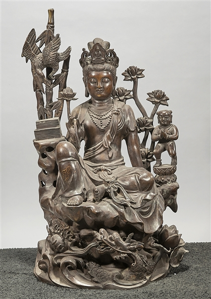 Chinese Bronze Seated Guanyin