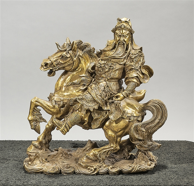 Chinese Bronze Figure of Guandi on a Horse