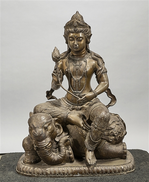 Chinese Bronze Sculpture of Guanyin Seated on an Elephant