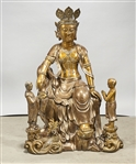 Chinese Metal Sculpture of a Seated Guanyin