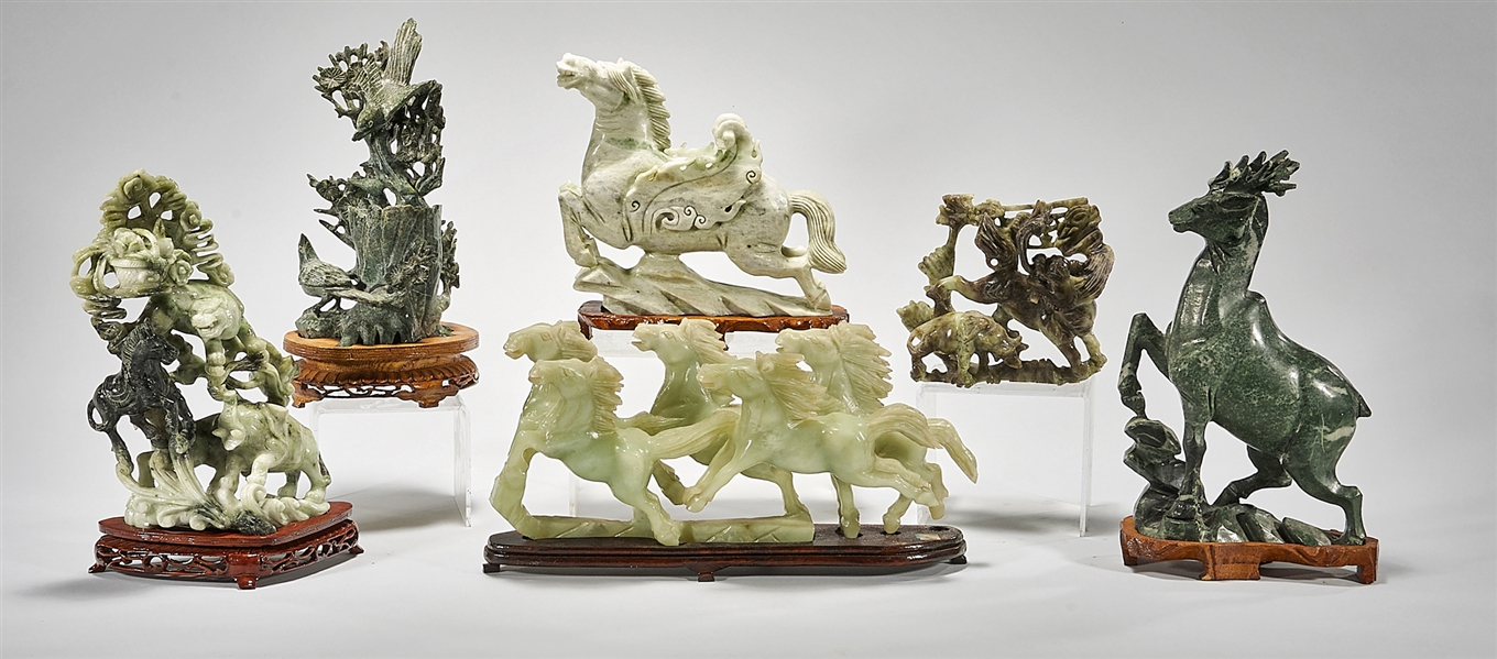 Group of Six Various Chinese Stone Animal Carvings