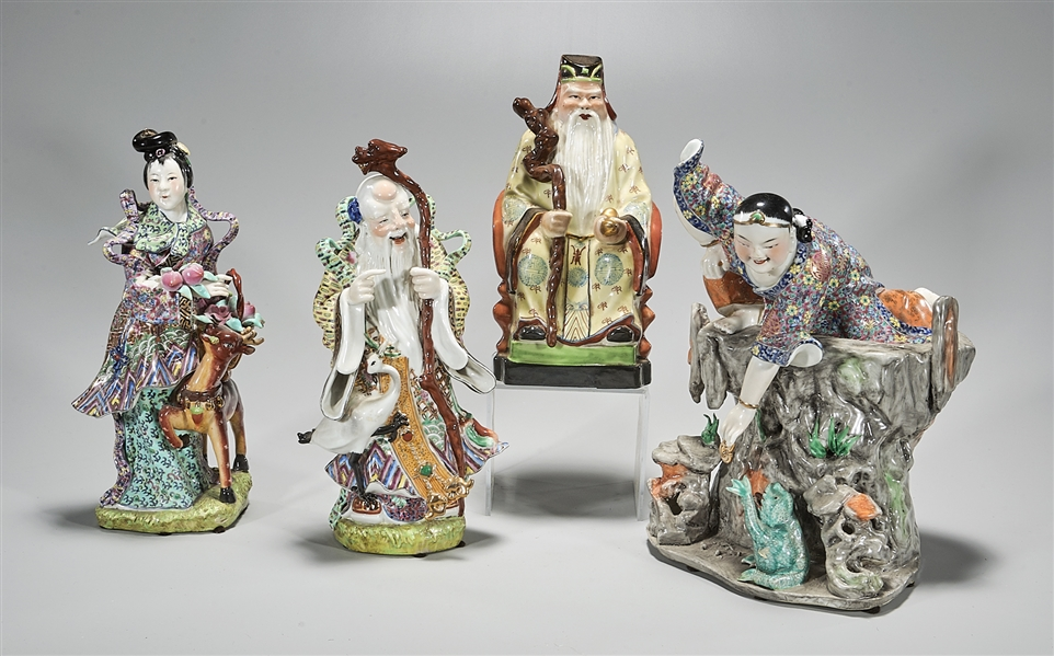 Group of Four Chinese Enamaled Porcelain Figures