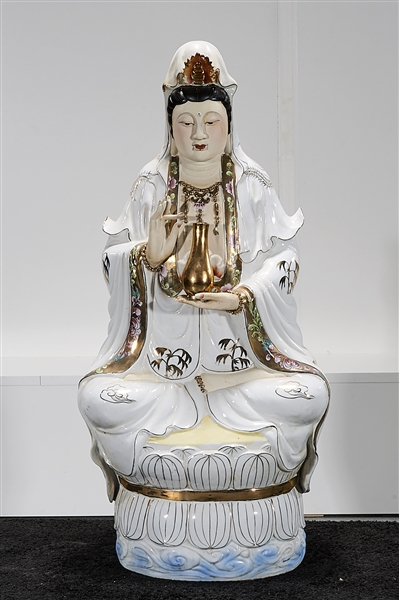 Chinese Enameled Porcelain Seated Guanyin