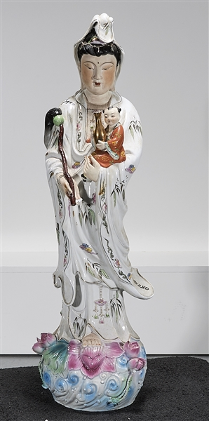 Chinese Enameled Porcelain Standing Guanyin