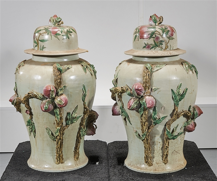 Pair Large Chinese Enameled Porcelain Covered Jars