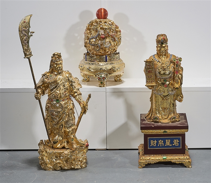 Three Chinese Gilt Metal Items