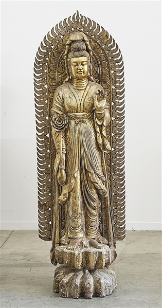 Painted Wood Sculpture of Guanyin