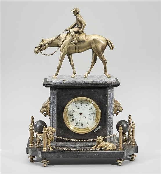 Decorative Stone and Metal Mantel Clock