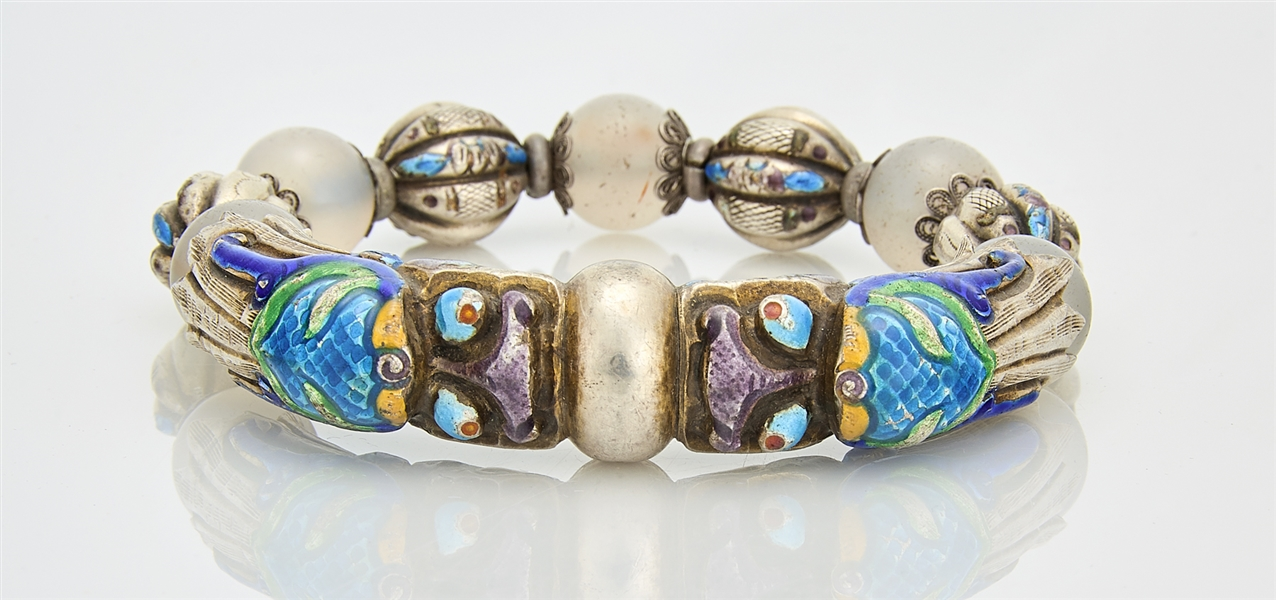 Chinese Enameled Silver and Bead Bracelet
