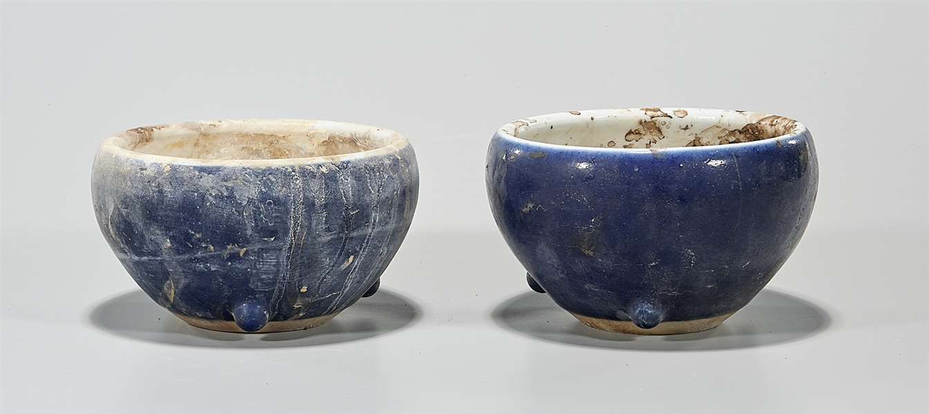 Pair Chinese Blue Glazed Porcelain Bowls