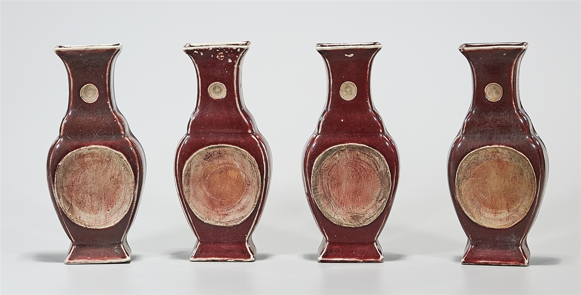 Group of Four Chinese Oxblood Porcelain Ink Stands