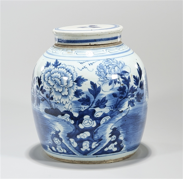 Antique Chinese Blue and White Porcelain Covered Jar