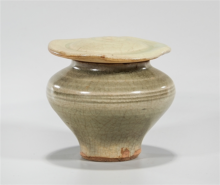 Small Chinese Celadon Glazed Covered Jar
