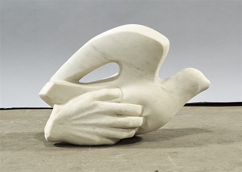 White Marble Sculpture of a Hand and Dove