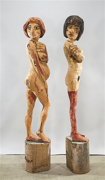 Two Contemporary Wood Female Figural Sculptures