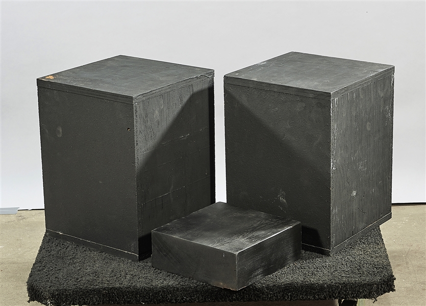 Group of Three Black Wood Pedestals