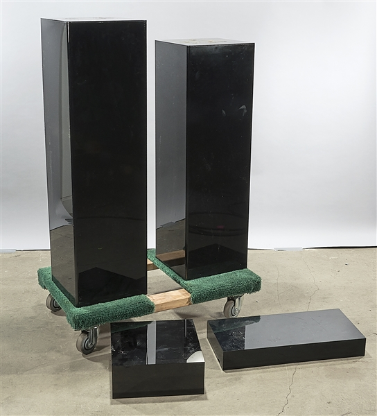 Group of Four Black Plexi Pedestals