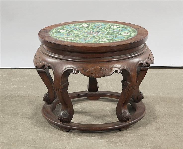 Chinese Cloisonne Inlaid Carved Wood Stool